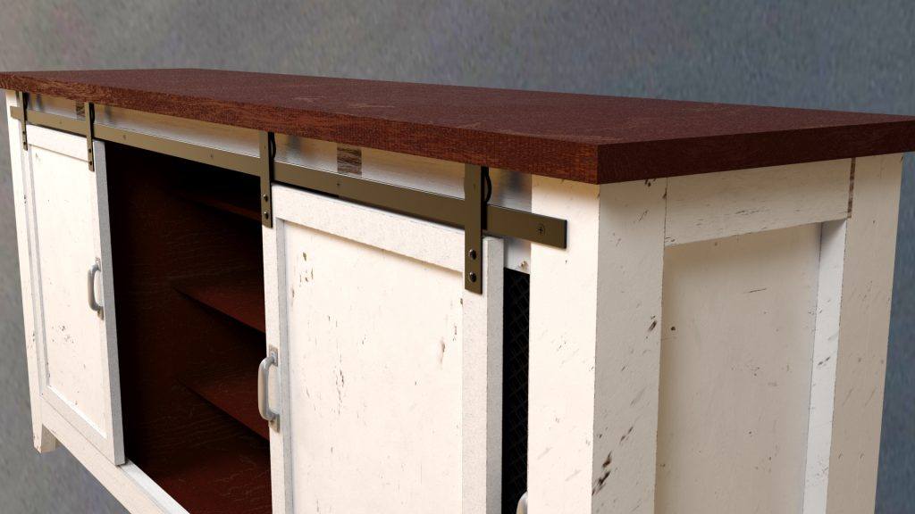 HOUZZ Rustic 80 in White Barn-Door Media Console – Details_View
