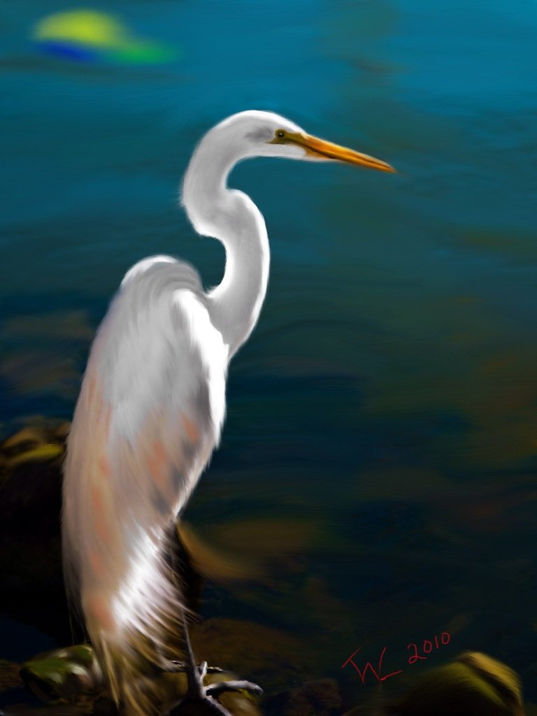 Painting of a heron